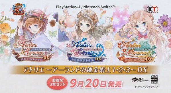 Atelier Rorona DX, Atelier Totori DX e Atelier Meruru DX anunciados para PS4 e Switch